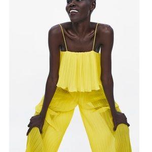 NEW ZARA yellow pleated jumpsuit